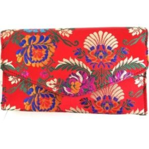 Colorful Red Asian Print Fabric Clutch
